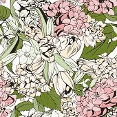 Pastel seamless pattern with tulips and hydrangeas