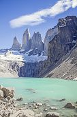 Torres Del Paine Mountains And Lake.