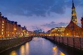 Speicherstadt and church at dawn