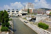 NOVI PAZAR, SERBIA - 26 July: the modern city center of Novi Pazar with the architectural complex of