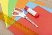 Paper With Ruler Glue And Scissors