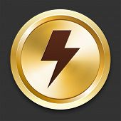 Lightning Bolt Icons on Gold Button Collection