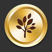 Tree Icons on Gold Button Collection