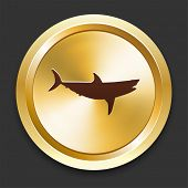 Shark Icons on Gold Button Collection