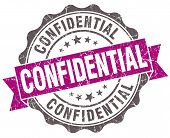 Confidential Violet Grunge Retro Style Isolated Seal