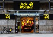 STUTTGART, GERMANY - APRIL 01, 2014: Jack Wolfskin Store. Jack Wolfskin is a German producer of outdoor wear and equipment that was founded in 1981 and is now owned by the Blackstone Group.