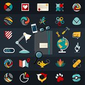 Set of flat vector icons design illustration financial service items