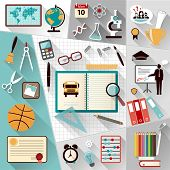 Set of Flat vector design illustration of modern school workspace
