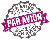 Par Avion Violet Grunge Retro Style Isolated Seal