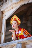 Russian Girl In A Kokoshnik Sends An Air Kiss