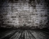pic of abandoned house  - old room with brick wall - JPG