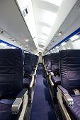 Interior of an airplane without people