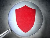 Privacy concept:  Shield with optical glass on digital