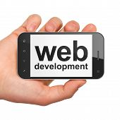 SEO web design concept: Web Development on smartphone