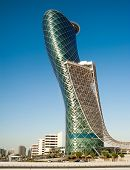 ABU DHABI, UAE - DECEMBER 18: The Capital Gate Tower on the December, 18, 2013 in Abu Dhabi, This is certified as the Worlds Furthest Leaning Manmade in the world.
