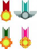 stock photo of bronze silver gold platinum  - A vector set of several medals. Drawn in cartoon style, this vector is very good for design that need achievement element in cute, funny, colorful and cheerful style.  Available as a Vector in EPS8 format that can be scaled to any size without loss of q - JPG