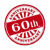 60Th Anniversary Grunge Rubber Stamp