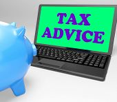 Tax Advice Laptop Shows Professional Advising On  Taxation