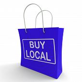 picture of local shop  - Buy Local Shopping Bag Showing Buying Nearby Trade - JPG