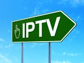Web development concept: IPTV and Mouse Cursor on road sign background