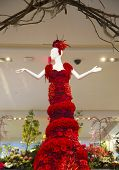 Amazing 14-foot tall Lady in Red  is a center piece of the famous Macy's Flower Show