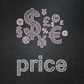 Advertising concept: Finance Symbol and Price on chalkboard background
