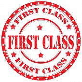 pic of first class  - Grunge rubber stamp with text First Class - JPG