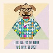 Cool Dog Hipster, Hand Draw Illustration