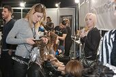 ZAGREB, CROATIA - MARCH 28, 2014: Fashion models in backstage preparing for a Couture show by Marina