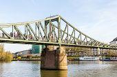 People At Bridge Eiserner Steg In Frankfurt With River Main