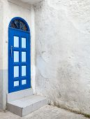 Blue Door And White Walls. Old Medina, Historical Part Of Tanger City, Morocco