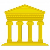picture of ionic  - Gold ionic temple isolated on white background - JPG