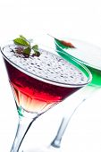 Molecular mixology - two cocktails with  caviar in martini glasses shallow DOF