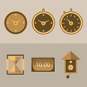 image of pendulum clock  - Six brown flat icons for different kinds of clocks - JPG