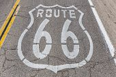 Old US Route 66 pavement sign deep inside California's mojave desert.