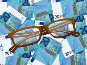 Reading Glasses On Twenty Euro Background