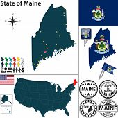 Map Of State Maine, Usa