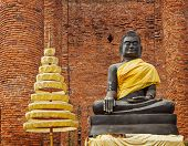 Buddha Statue In Ruins Of The Temple. Ayuthaya, Thailand