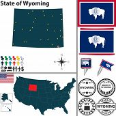 Map Of State Wyoming, Usa