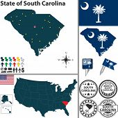 pic of south american flag  - Vector set of South Carolina state with flag and icons on white background - JPG