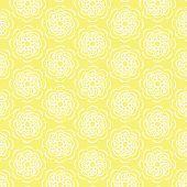 White Line Flower Circular Pattern On Yellow Background