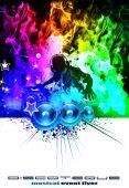 Dj discoteca con llamas de color arco iris con colores de alto contraste