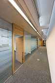 corridor of a modern office building with glass and wood
