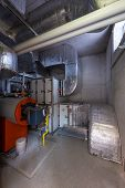 engineering and plant room with thermally insulated pipes