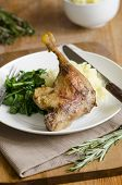 foto of roast duck  - Roast duck with mashed potatoes and wilted spinach - JPG