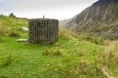 picture of spigot  - Spigot Mortar Emplacement World War Two defense Nant Francon Pass Ogwen Cottage Gwynedd Wales United Kingdom - JPG