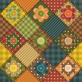 patchwork background with flowers and buttons