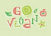 Go Vegan Hand Lettering Illustration