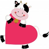 stock photo of goodnight  - Scalable vectorial image representing a cow on heart shaped - JPG