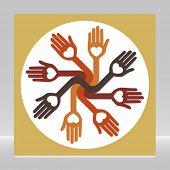Caring loving circle of hands.